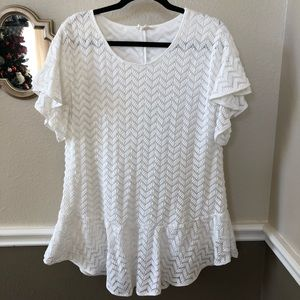 Entro boutique winter white peplum blouse